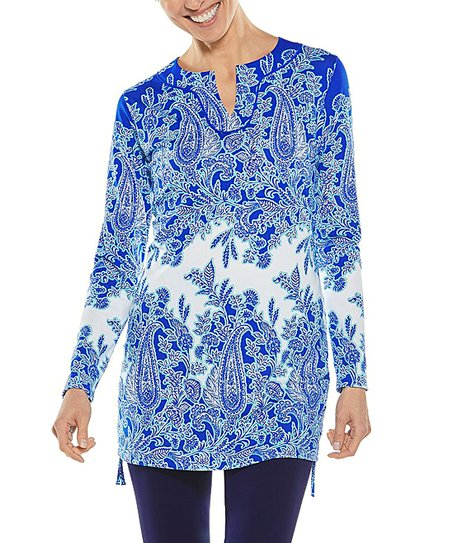 c4feff5de1341 Coolibar Baja Blue Paisley Havens Swimsuit Cover-Up - Women & Plus ...