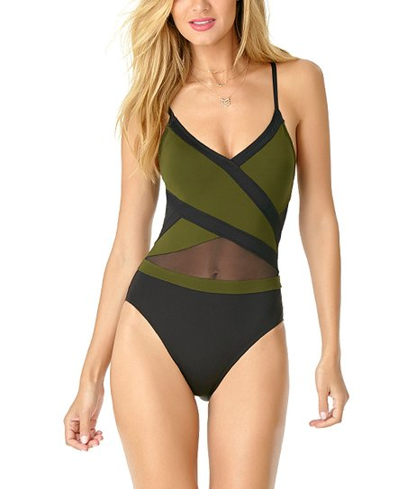 e02d7ff3773 love this product Olive   Black Crossover Mesh One-Piece - Women