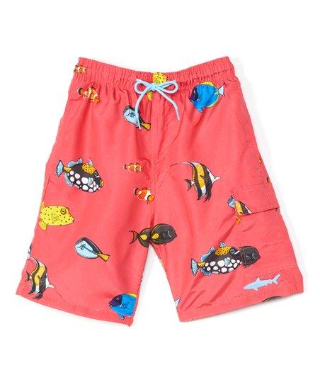 5bde7e41fc Uzzi Amphibious Gear Red Fish Pocket Swim Trunks - Boys | Zulily