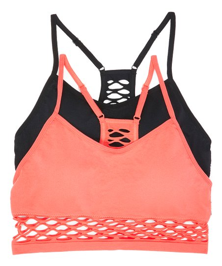 90556101c379d XOXO Coral   Black Ladder-Back Wireless Sports Bra Set