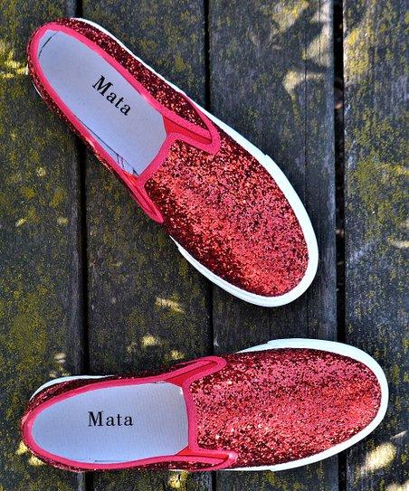 Mata Shoes Red Glitter Slip-On Sneaker