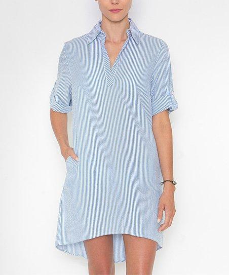 Sea Lily Blue White Seersucker Shirt Dress Women Zulily