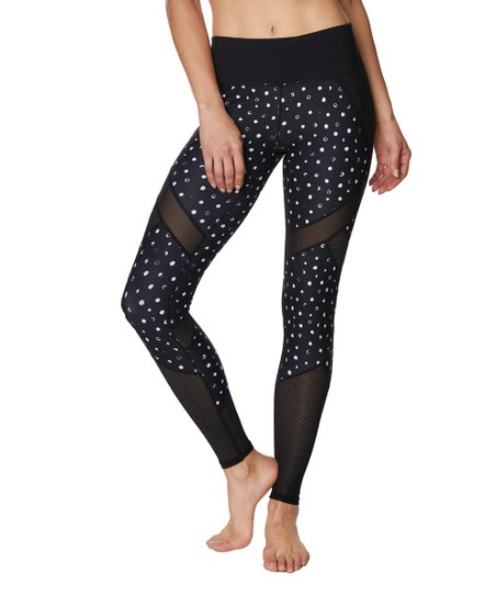 09d2da7e2e967 Betsey Johnson® Black & White Dot Mesh-Insert Leggings - Women | Zulily