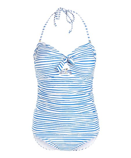 9f8c0946dab love this product White Marker Stripe Strapless Front-Tie One-Piece - Women