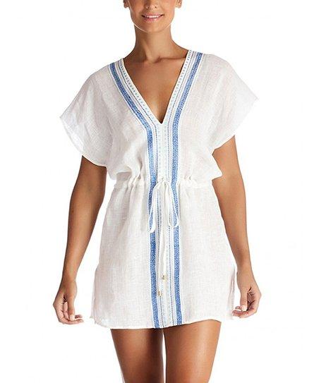 834244720b Vitamin A White & Beach Blue Linen Cover-Up - Women | Zulily