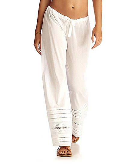 aa98743a61 Vitamin A White Perforated-Hem Beach Pants - Women | Zulily