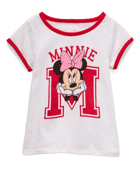 Children's Apparel Network Minnie Mouse White & Pink Ringer Tee - Toddler