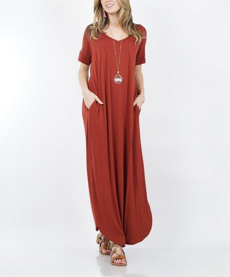 love this product Fired Brick V-Neck Short-Sleeve Split-Hem Pocket Maxi  Dress - Women a51af3356