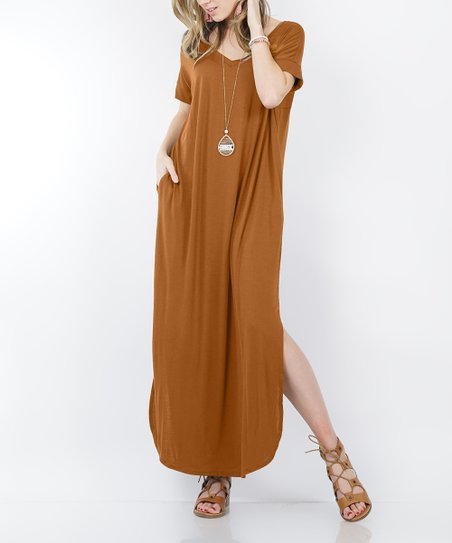 cd5cf38e55d8 love this product Coffee V-Neck Short-Sleeve Split-Hem Pocket Maxi Dress -  Women