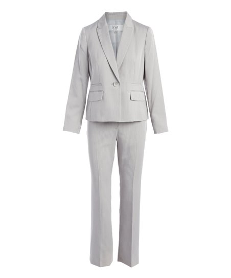 4007b4d8f2 love this product Silver One-Button Peak Lapel Herringbone Pant Suit -  Petite