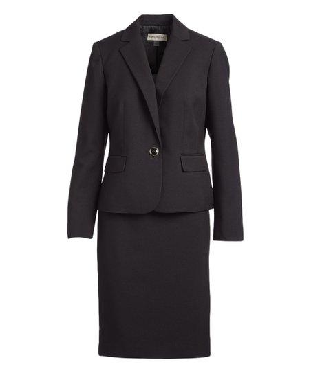 Evan Picone Suits Black One Button Notch Collar Melange Skirt Suit