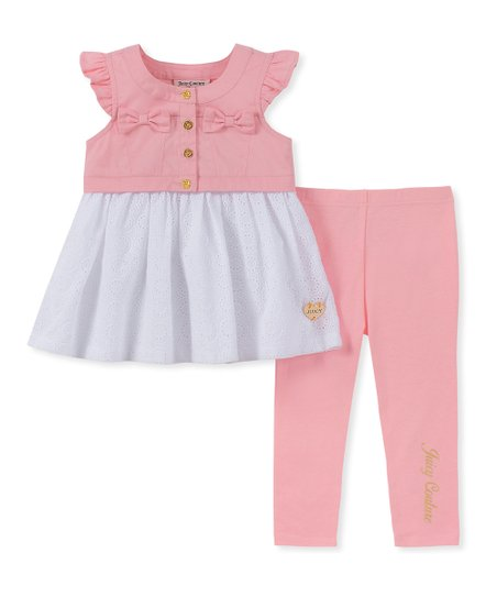 19cb22677 love this product Pink & White Bow Button-Front Tunic & 'Juicy Couture'  Leggings - Infant