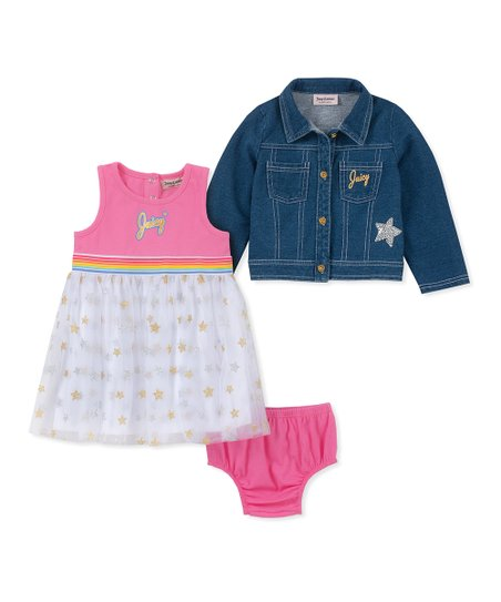 5ecfe2576dfe love this product Blue   Silver Star Sequin Denim  Juicy  Jacket   Pink  Dress Set - Infant