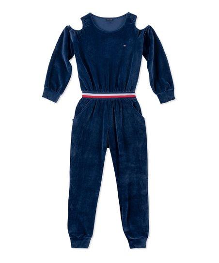 e9787d8a265 Tommy Hilfiger Flag Blue Velour Cold-Shoulder Jumpsuit - Girls   Zulily