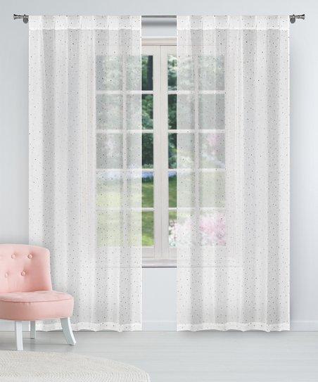 Duck River Textile White Gold Davis Sheer Curtain Panel Set Of