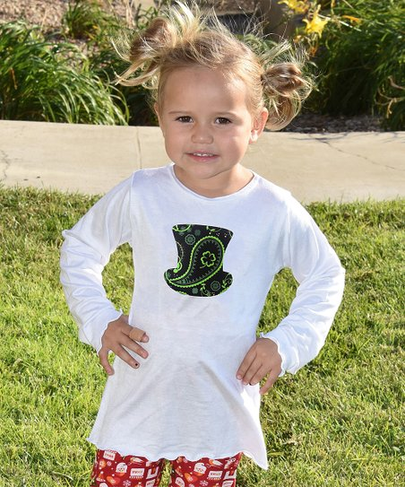 f0de149d3a love this product White Four-Leaf Clover Top Hat Long-Sleeve Tee - Toddler  & Girls