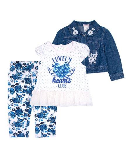 833bf1314 Nannette Kids Blue   White Lovely Hearts Club Denim Jacket Set ...