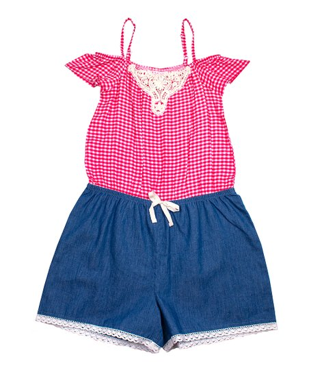 95cfe320dc10c4 p.s. from Aéropostale Red Gingham Off-Shoulder Romper - Girls