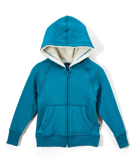 7225d1030 KicKee Pants Seagrass Zip-Front Sherpa-Lined Hoodie - Infant ...
