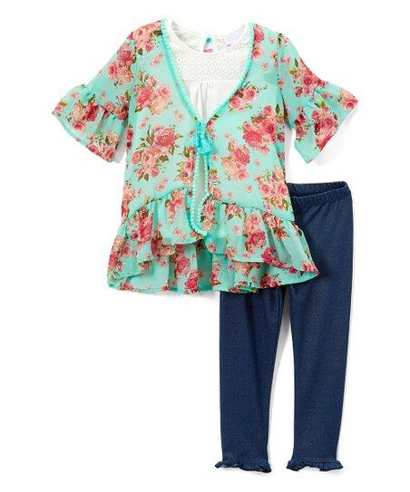 ab6ead99187f Nannette Kids Aqua Floral Ruffle Tie-Front Cardigan Set - Toddler ...