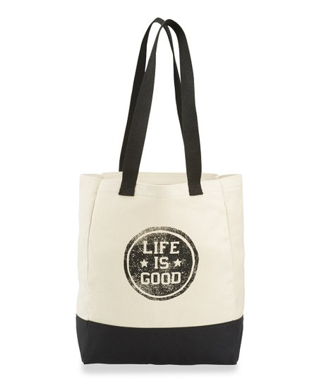 Life is Good® Natural & Black 'Life is Good' Star Coin Shopper
