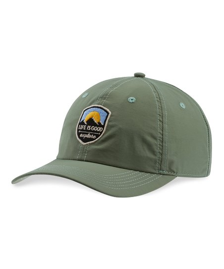 a0a8fb68c2f18 Life is Good® Light Forest Green Explore Patch Nylon Baseball Cap ...