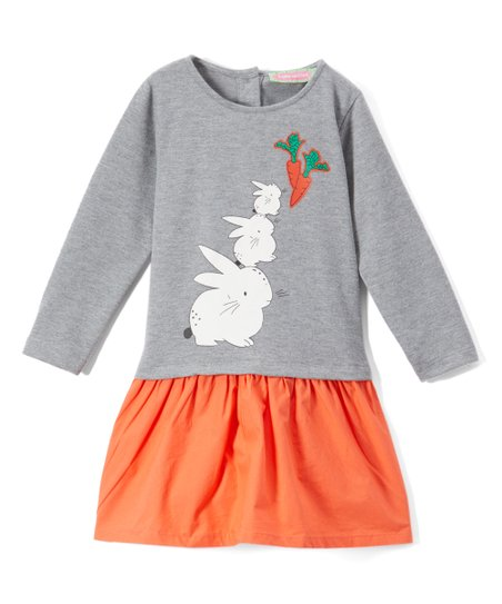 ab2032782f3e4 love this product Gray & Orange Hungry Bunny Ruffle-Trim Drop-Waist Dress -  Infant & Toddler
