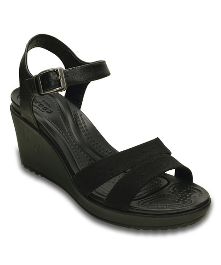 7c77e2ea6ac97f Crocs Black Leigh II Ankle Strap Wedge Sandal - Women