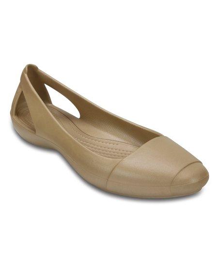 16aeb3ba03cf Crocs Gold Sienna Flat