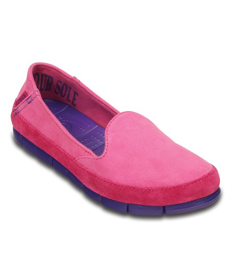 9032294e0e8a1 Crocs Candy Pink   Ultraviolet StretchSole Microsuede Skimmer ...