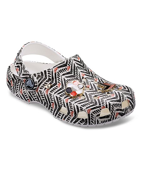 6612376fd789 Crocs Black   White Chevron Drew Barrymore Classic Clog - Kids