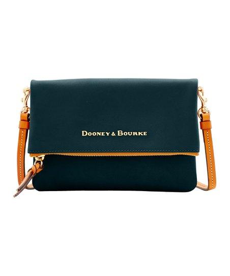 Dooney   Bourke Black Fold-Over Zip Crossbody Bag