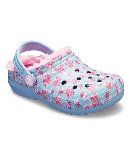 0eb0b145af0928 Crocs Chambray Blue   Carnation Floral Classic Lined Clog - Kids ...