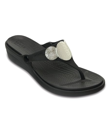 d9818f57c6d8 love this product Black   Silver Metallic Sanrah Embellished Wedge Flip-Flop  - Women