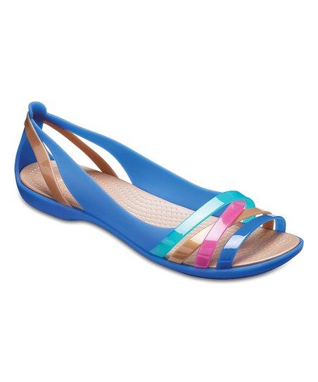 wholesale dealer bcdca c207a Crocs Blue Jean & Gold Isabella Huarache II Flat