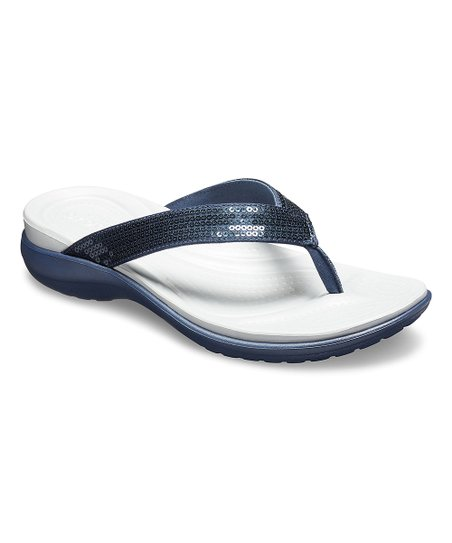 02b9d71167b3 love this product Navy   Light Gray Capri V Sequin Flip-Flops - Women