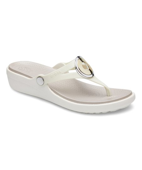 1bc5d43820 love this product Oyster & Multi Metal Sanrah Wedge Flip-Flop - Women