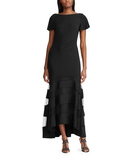 907389817c8 Lauren Ralph Lauren Black Tulle-Panel Hi-Low Gown - Women
