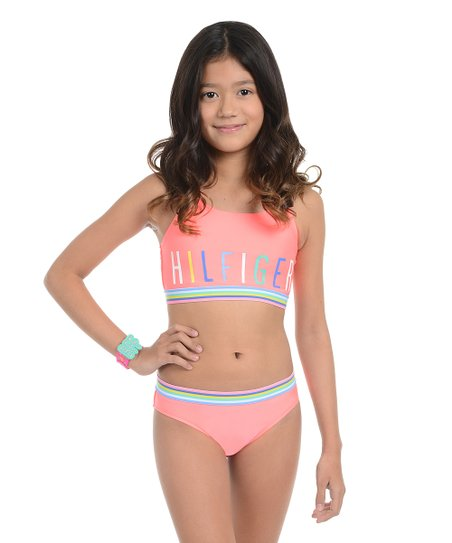 2b36b619 Tommy Hilfiger Jolt Pink Philamina Bikini - Girls   Zulily