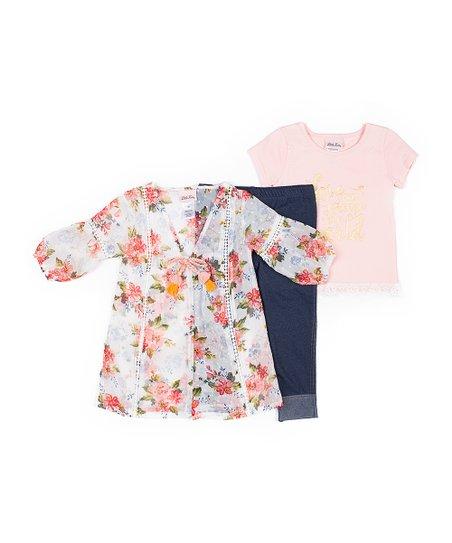 5e0bfa5a9 Little Lass Ivory Floral Eyelet-Trim Bubble-Sleeve Cardigan Set ...