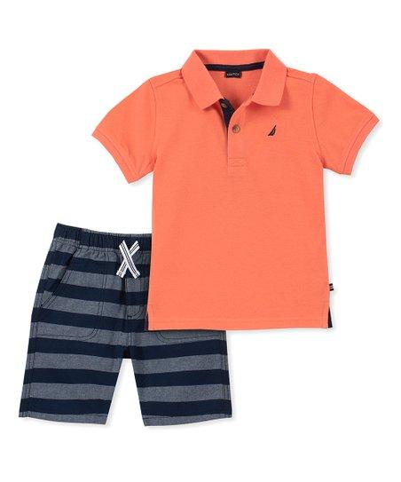 497a67100726 Nautica Orange   Navy Stripe Polo   Shorts - Infant