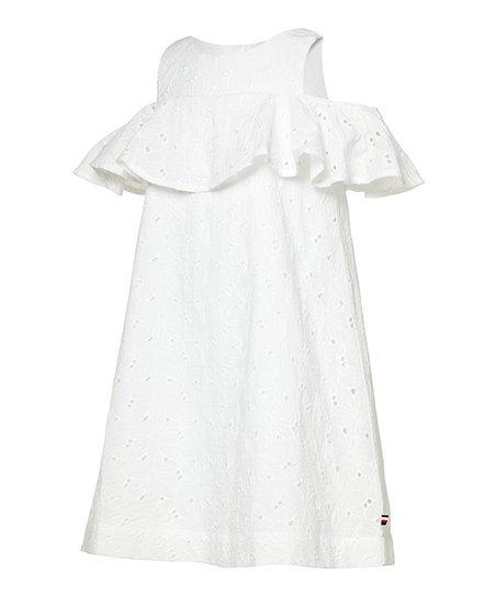 73256238 Tommy Hilfiger White Eyelet Sleeveless Dress - Toddler | Zulily