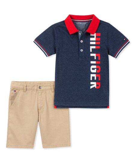 45a77114 Tommy Hilfiger Navy Polo & Khaki Shorts - Infant | Zulily