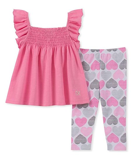 eae532dcf0ac6c love this product Pink & Gray Heart Smocked Angel-Sleeve Tunic & Leggings -  Infant