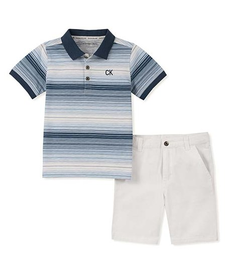 077177818ac7 love this product Blue & White Brushed Stripe Polo & Shorts - Newborn,  Infant & Boys