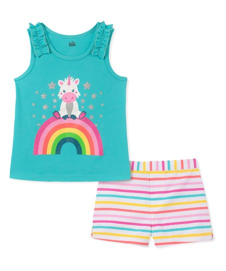 7bc9d2f7dfb01 love this product Teal Rainbow Unicorn Ruffle Tank & Pink Stripe Shorts -  Infant, Toddler & Girls