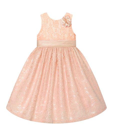 b23126ba5 Peach Lace Flower-Accent A-Line Dress - Infant
