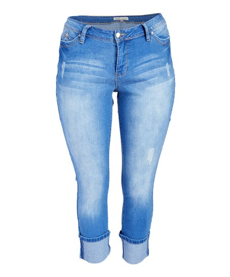 ee10d3c10e30 Royalty For Me Light Blue Wanna Betta Butt Wide-Cuff Skinny Jeans ...
