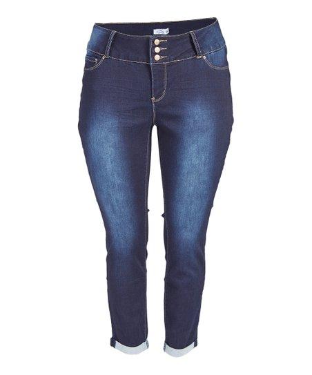 417694b0bc Royalty For Me Dark Blue Tummy Control Roll-Cuff Skinny Jeans - Plus ...