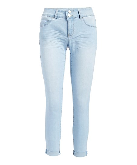 cbce5d5112 Royalty For Me Light Blue Tummy Control Roll-Cuff Skinny Jeans ...